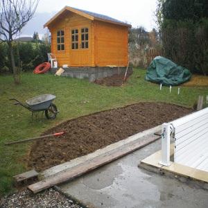debut des travaux autour de la maison du jardin